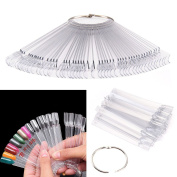 Crystalum Nail Art Display Stand 50 Tips Practise Sticks Fan Dish Variations Ring or Chain, Clear