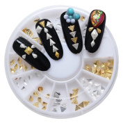 Phantomsky 2 Colours 3D Nail Art Rhinestone Wheel - Alloy Polyhedron - Professional Art Decorations Mix Design Nail Decor Accessories