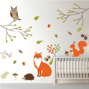 Woodland Animals Wall Sticker Set Fox owl Wall Decal Kids Bedroom Home Decor available in 8 Sizes Large Digital