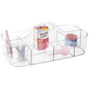 mDesign Baby Nursery Storage Organiser Tote for Burp Cloths, Shampoo, Powder, Medicine - 11 Compartments, Clear