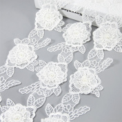 5 Yards 3- Layer White Flower Lace Trim Applique With Pearl Ribbon Sewing DIY Craft Lace For Festival Wedding Party Birthday Bridal Shower Decoration and DIY Handmande Accessories
