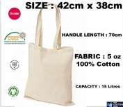 10 x Cotton Shopping Bags. Natural Colour Tote Shoppers. Ideal for Printing or Fabric Painting. Fabric Weight : 150ml