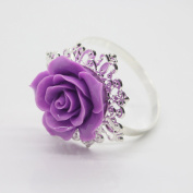 10pcs Purple Rose Decorative Silver Napkin Ring Serviette Holder for Wedding Party Dinner Table Decor Many Colour Available