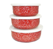 'Set of 3 Food Containers Storage Boxes Red Coral