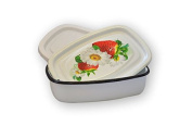 """'Decorated Emaillerte Metal Pot with 2 Lids Strawberries """""""