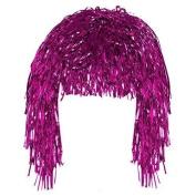 Pink Tinsel Fun Wig Adult Fancy Dress Shiny Metallic Foil Tinsel Wig Costume Accessory