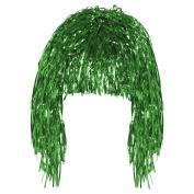 Green Tinsel Fun Wig Adult Fancy Dress Shiny Metallic Foil Tinsel Wig Costume Accessory