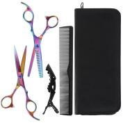 Lictin Hair Thinning Scissors Set and Hair Scissors, 15cm + Presentation Case/Box + Black Comb +Black Hair clip