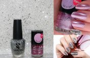 Pink & Silver Glitter Shimmer Duo Nail Varnish Set