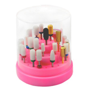 Fightart Nail Drill Bits Holder Stand Displayer Organiser Container 48 Holes Manicure Tools Acrylic Cover