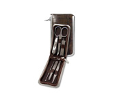 Manicure Set in brown mock croc leather