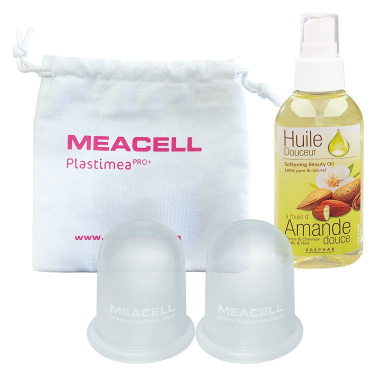 ♡ STOP CELLULITE ♡ Ultra Complete Anticellulite Set - 2 Meacell Meacell slimming cup and 1 Sweet Almond Oil- Firming and slimming treatment of the body - Cupping Technique