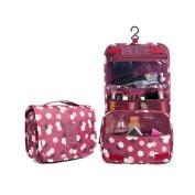 Huluwa Toiletry Bag Multifunction Cosmetic Bag Portable Makeup Pouch Waterproof Travel Hanging Organiser Bag for Women Girls, Wine Flowers