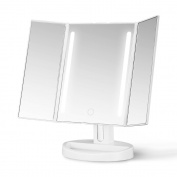 Gotofine LED Lighted Makeup Mirror, Tri-Fold Natural Bright Light Vanity Mirror With adjustable 8.9cm 10X Magnification Spot Mirror, Wide View / Movable / Two Power Supply Mode