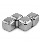 Zhi Jin 4Pcs Reusable Stainless Steel Ice Cubes whiskey Cooling Rocks Stones Wine Drink Coolers Bar Party Set