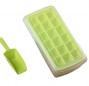 Demarkt Creative Ice Lattice Plastic Ice Tray with Lid and Shovel 18 holes for Whiskey, Cocktail and Other Drink