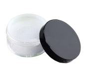 Empty Clear Foundation Make-up Powder Puff Box Case Container with Powder Puff Sifter and Black Screw Lip