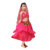 Vanvler Kids' Girls Sequin Belly Dance Outfit Costume India Dance Clothes Top+Skirt