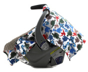 Dear Baby Gear Deluxe Carseat Canopy, Minky Print Dinosaur Polka Dot on Grey