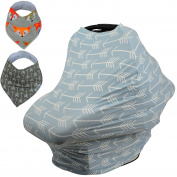 Baby Car Seat & Nursing Cover BONUS Bandana Drool Bibs & Drawstring Carry Bag Shower Gift Breathable Stretchy Universal 4 in 1 Multi-Use Infant Carseat Canopy Covers Shopping Cart High Chair Stroller
