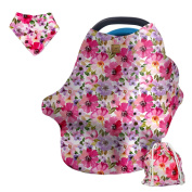 Baby Car Seat Cover, Nursing Cover for Breastfeeding, Grocery Cart Cover, 4-in-1 Stretchy Canopy for Baby Girls and boys