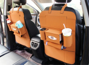 BININBOX Car Backseat Organiser PU Pocket Protector Kick Mat Auto For Baby Kids Travel Accessories Toy Bottle Storage