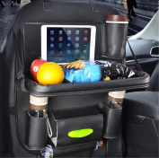 BININBOX Car Backseat Organiser PU Pocket Protector Kick Mat Auto For Baby Kids Travel Accessories Toy Bottle Storage Foldable