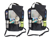 2 PACK Backseat Car Organiser with holder for iPAD or Tablets up to 26cm - Snap on Flap to Protect and Hide iPad from View