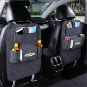 LogHog 1pc Luxury Woollen Felt Car Back Seat Organiser, DVD Player/Tablet iPad Holder, Large Touch Screen Pocket, Universal Car Backseat Organiser for Bottle, Tissue Box, Kids Toys