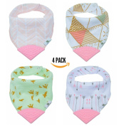 Pickle & Olive Baby/Toddler Bandana Teething Bibs With Attached BPA-Free Silicone Teether, Set Of 4, Water-Resistant, Adjustable Snaps, No Hook and loop, Best Unique Baby Shower Gift For New Moms, Pink/Green