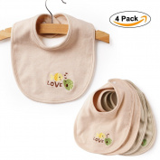 BABY MATE 4 PCS 100% Organic Non-Dyed Cotton Baby Bibs with Snaps - Infant Drool Bibs Burp Cloths - Baby Feeding Bibs Unisex - Dribble Bibs Feeder Bibs for Toddlers - Gift For New Mom