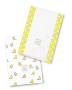 SwaddleDesigns Baby Burpies, Set of 2 Cotton Burp Cloths, Yellow Little Chickies