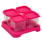 Green Sprouts Reusable Baby Food Glass Containers Freezer Cubes (120ml/4pk)-Pink
