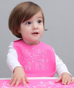LITTLE Bot Baby Silicone Simple Bib, Spring Deer, Pink. Ultra Soft, Waterproof, Comfortable, Easy to clean, Baby/Toddler, Germ-free
