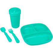 Re-Play Made in the USA Divided Plate, No Spill Sippy Cup, Utensil Set for Baby and Toddler - Aqua