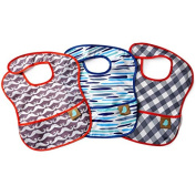 Waterproof Machine Washable Stain Proof Feeding Baby Bibs, Set of 3, Boy Patterns