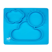 Dinner Dish for Babies, Toddlers and Kids, Silicone Placemat, 100% Food Grade Silicon, BPA Free, Dishwasher Safe, Non-Slip, One-Piece Baby Feeding Mat with 3 Compartments, Light Blue by osho
