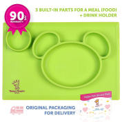 Silicone Placemat - JUST FOR GIRLS - Random Colour (Pink or Green) - Plate with 3 built-in dividers + Cup Holder - Baby & Toddlers- Non-Slip - Dishwasher safe,Microwave safe,BPA Free - 90days Warranty