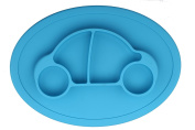 "Qshare - Mini Silicone Placemat 28cm x 20cm x 1"", One-Piece Suction Plate for Babies & Toddlers, Portable BPA-Free FDA Approved Kids Dinnerware, Dishwasher Safe"
