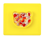 Qshare - Mini Silicone Placemat 26cm x 22cm x 1.15cm , One-Piece Plate for Babies, Toddlers, and Kids, Portable BPA-Free FDA Approved Dinnerware, Suctions to Surface, Dishwasher Safe, Microwave Safe …