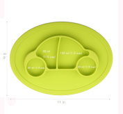 """Qshare - Mini Silicone Placemat 28cm x 20cm x 1"""", One-Piece Suction Plate for Babies & Toddlers, Portable BPA-Free FDA Approved Kids Dinnerware, Dishwasher Safe"""