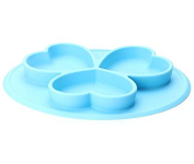 BPA Free Mini Round One Piece Suction Silicone Placemat and Plate Dinnerware Baby Feeding Mat