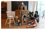 10L0L Colouring & Creating Cardboard Kid's Castle Playhouse, Great for Birthday Parties Perfect Gift