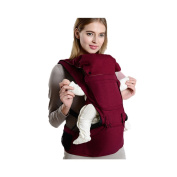 Huluwa Baby Carrier, Baby Sling Hip Seat, Baby Wrap Multifunction Infant Waist Stool for Newborns, 100% Cotton Breathable, Demountable Four Seasons general, Wine Red