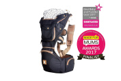 Kiddihug Multi-Award Winning New Style Designer Quality Performance 4 in 1 Baby Carrier with Hip Seat and Hood.