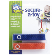Baby Buddy Secure-A-Toy, Safety Strap Secures Toys, Teether, or Pacifiers to Strollers, Highchairs, Car Seats—Adjustable Length to Keep Toys Sanitary Clean Royal-Orange 2 Count