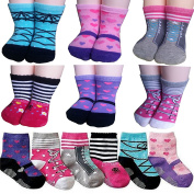 BSLINO Assorted 6 Pairs 12-24 Months Baby Girl Toddler Socks Non-Skid Anti Slip Stretch Knit Grips Cotton Shoe Socks Slippers + Thank you Card