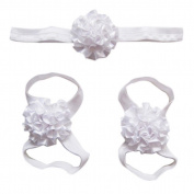 Elevin(TM) Newborn Baby Soft Handmade Flowers Barefoot Sandals and Headdress Three Suit