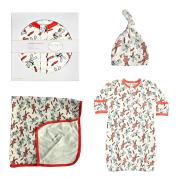 Cat & Dogma Organic Cotton Newborn 0-6 Months Bunny Hat Blanket Gown Gift Set