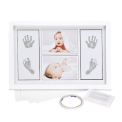 Ilyever Large 43cm Best Babyprints Newborn Baby Handprint and Footprint Photo Frame Kit with an Clean-Touch Ink Pad to Create Baby's Prints - A Perfect Baby Shower Gift for Baby Registry